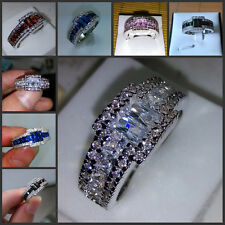Sz 8-12 Brand Antique Jewelry Gemstones 10KT Gold Filled Band Ring Gift 5 colors