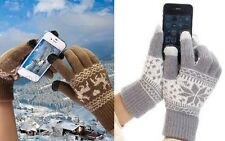 Winter Warm Snowflake Deer Screen Touch Gloves Mittens Fit iPhone Mobile Phone
