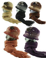 Faux Fur / Diamond Applique Fleece Lined Knitted Cloche Hat Scarf - Set - Combo
