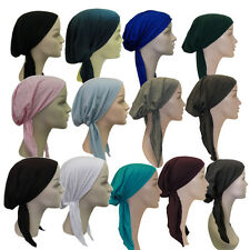 Womens Pretied Headscarf Solid Color Alopecia Cancer Tichel Modest Headcover