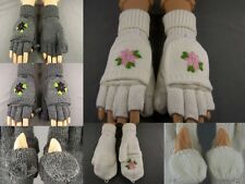 Flower knit convertible top flip open thumb mittens fingerless gloves texting