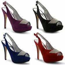 Womens Platform Ladies Peep Toe Diamante Pumps High Heel Classic Court Shoes 3-8