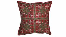 Indian pillow cover mirror work-Red 16x16 inches Embroidered