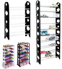 BLACK SHOE RACK ORGANISER FOR 12 21 30 PAIR SHOES STORAGE SHELF 4 OR 10 TIER NEW