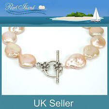 Peach Pink Freshwater Coin Pearl Necklace with T-bar Clasp - Pearl Island