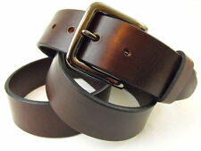 "1 1/2""Sunset Brown Harness Leather Belt Plain Made In USA"