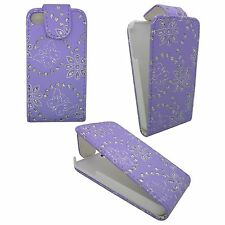 LILAC DIAMOND BLING GEM BUTTERFLY AND FLOWER COVER FOR APPLE IPHONE 4G/4S