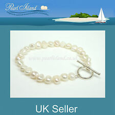 White Freshwater Baroque Pearl Bracelet with Sterling Silver Toggle Clasp