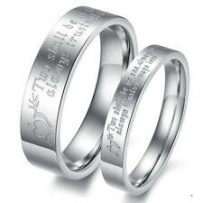 A Pair Stainless Steel Couple rings Letter  Carved His and Her Promise Band Gift