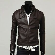 Fashion Korean synthetic Leather Men Coats Fit Stand Collar Washed Jackets Brown