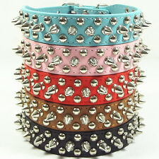 Brand New Spiked Studded Rivets PU Leather Dog Collar Pet Collar Size XS S M L