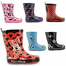 NEW GIRLS BOYS WINTER RAIN WELLIES SNOW WATERPROOF WELLINGTON BOOTS UK SIZE 8-2