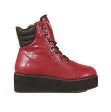 NEW Y-R-U *RAZE* BURGUNDY QUILTED HIGH TOP LACE UP PLATFORM ANKLE BOOTS -UK 3-9-
