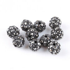 10Pcs Lots Shiny Black Ball Pave Crystal Rhinestone Spacer Beads Findings 10mm