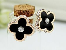 Vogue Simple Four Leaf Clover Clear Crystal Women Stud Earrings Quality 2 Color