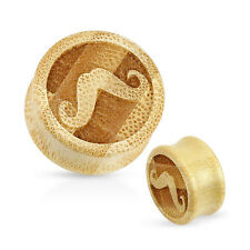 Natural Bamboo Wood Moustache Double Flared Flesh Ear Plug Tunnel Stretcher
