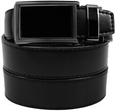 Black Buckle Slide Belt Men's Leather Adjustable Ratchet Belt without Holes