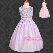 Beads Fine Satin Wedding Flower Girl Dress Pageant Party Occasion Size 3T-10 170