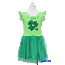 St Patricks Day Girls Shamrock Green Tutu Party Dress Pearl Necklace 1-6Y