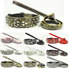 """New 2"""" Spiked Studded D-ring Leather Pet Dog Collars Leash Set Pitbull S M L XL"""