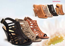 Women's Sexy Strappy Peep Toe Slingback Buckle High Heel Sandal Shoes NEW 5.5 11