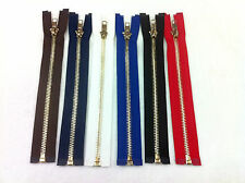 METAL TEETH OPEN ENDED ZIP NO 5, VARIOUS SIZES AND COLOURS