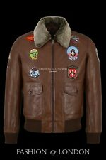 Men's TOP GUN Vintage TAN G-1 Bomber Aviator Pilot Lambskin Leather Jacket