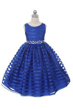 New Flower Girls Royal Blue Striped Organza Dress Easter Holiday Party Pageant