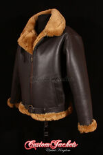 Men's SHEARLING B3 RAF BOMBER Ginger Sheepskin Aviator Cockpit Pilot Jacket Coat