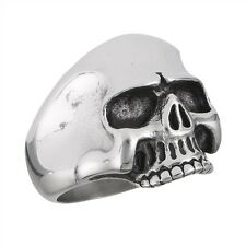 Gothic Stainless Steel Biker Jewelry SKULL Ring Smooth Head Size 8-15
