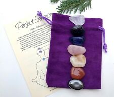 Chakra Set - 7 Piece - Crystal Tumblestones - Large or XL - With Velvet Pouch