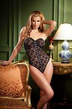 Be Wicked BW1355, 1 Piece Lace body, metal hook and eye front closure.