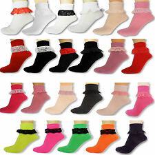 NEW LADIES FRILLY ANKLE LACE SOCKS RETRO SCHOOL  TRAINER GIRLS LACEY CHILDRENS