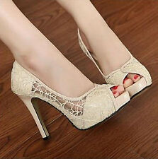 New Sexy Lace Hollow out Platform High Heels Women Stiletto Peep-toe high 11CM