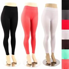 Plus Size Leggings Solid Color Plain Basic Seamless Full Length Spandex Tights