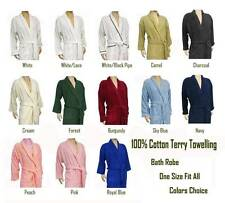 100% Cotton Towelling Bath Robe ( Bathrobe ) One Size Fits All - Color Choices