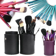 Makeup Brush Set 12 pcs Tool Kit w/ Leather Cylinder Eyeshadow Brushes Cosmetic