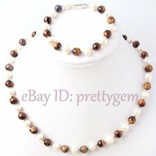 5-7MM WHITE NATURAL CULTURED PEARL 8MM FACETED ROUND SHAPE GEMSTONE BEADS 1 SET