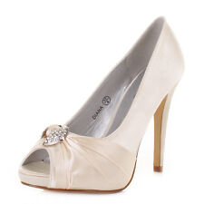 Womens High Heel Diamante Peep Toe Satin Wedding Prom Bridals Shoes Size 3-8