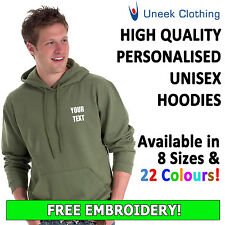 Personalised Uneek Embroidered Hoodies, Customised Workwear with Free Text UC502
