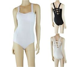 Solid Sleeveless Bodysuit Casual Padded Bra Cage Back Snap Button Bottom Cotton