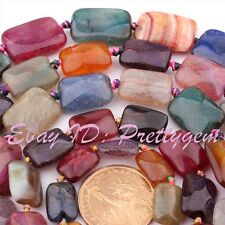 MULTI-COLOR FACETED RECTANGLE CRACKED JEWELRY AGATE GEMSTONE BEADS STRAND 15""