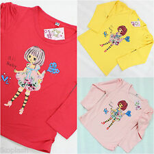 Girls Top Long Sleeve Tshirt Dolly Crew Neck 100% Cotton Age 3 4 5 6 7 Years NEW