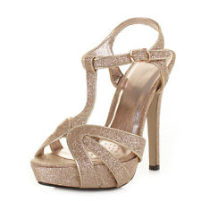 WOMENS HIGH HEEL STRAPPY T BAR ANKLE STRAP GLITTER PROM PARTY SHOES SIZE 3-8
