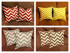 "Set of  TWO (2) Chevron Pillows 12"" x 12"". 100% Cotton - 8 Chevrons Colors!"