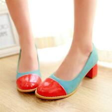 New Womens Fashion Multicolored Patent Block Heeled Pumps Court Shoes Plus Size