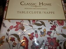 "Classic HOme Tablecloth Oblong Wine Pink Green Ivory 60""x 84"",102"", 52"" x 70"""