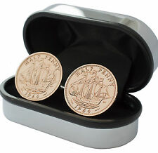 LUXURY HALF PENNY COIN CUFFLINK CHOICE OF DATE 1924 - 1967 WITH CHROME CUFFLINK
