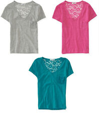 NEW Aeropostale Womens Aero Floral Lace Knit Back V Neck Relaxed Tee Sz L XL XXL