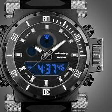 INFANTRY Police Mens Sport Quartz Army LCD Digital Rubber Luxury Wrist Watch New